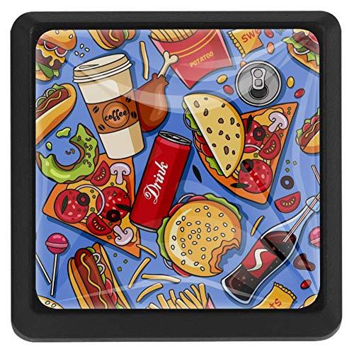 Schubladenknöpfe aus Hamburger Pizza, Küche, Schrankgriff, Ziehen, quadratisch, 3 Packungen für Schrank, Schrank, Kommode, Tür, Heimdekoration