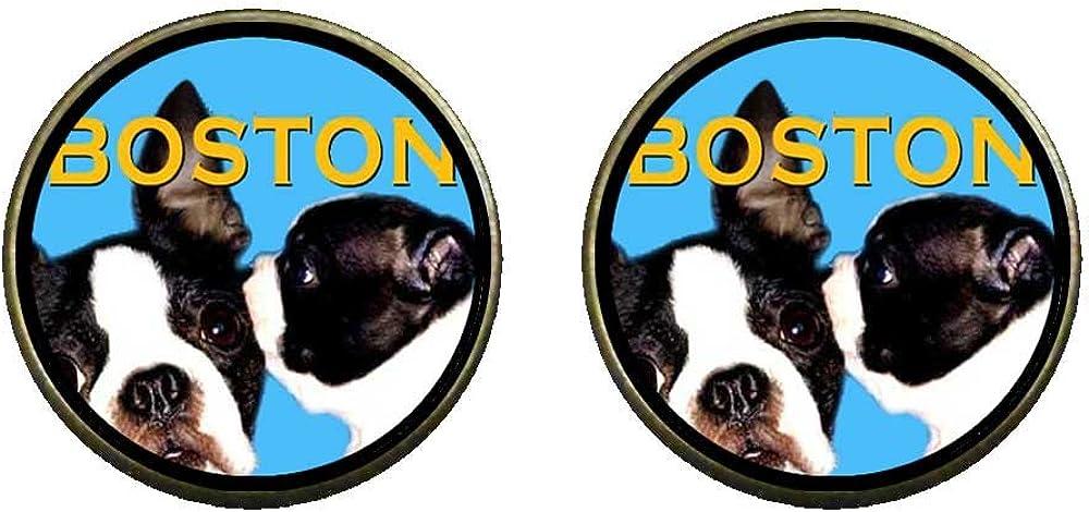 GiftJewelryShop Bronze Retro Style Boston Terrier Photo Clip On Earrings 14mm Diameter