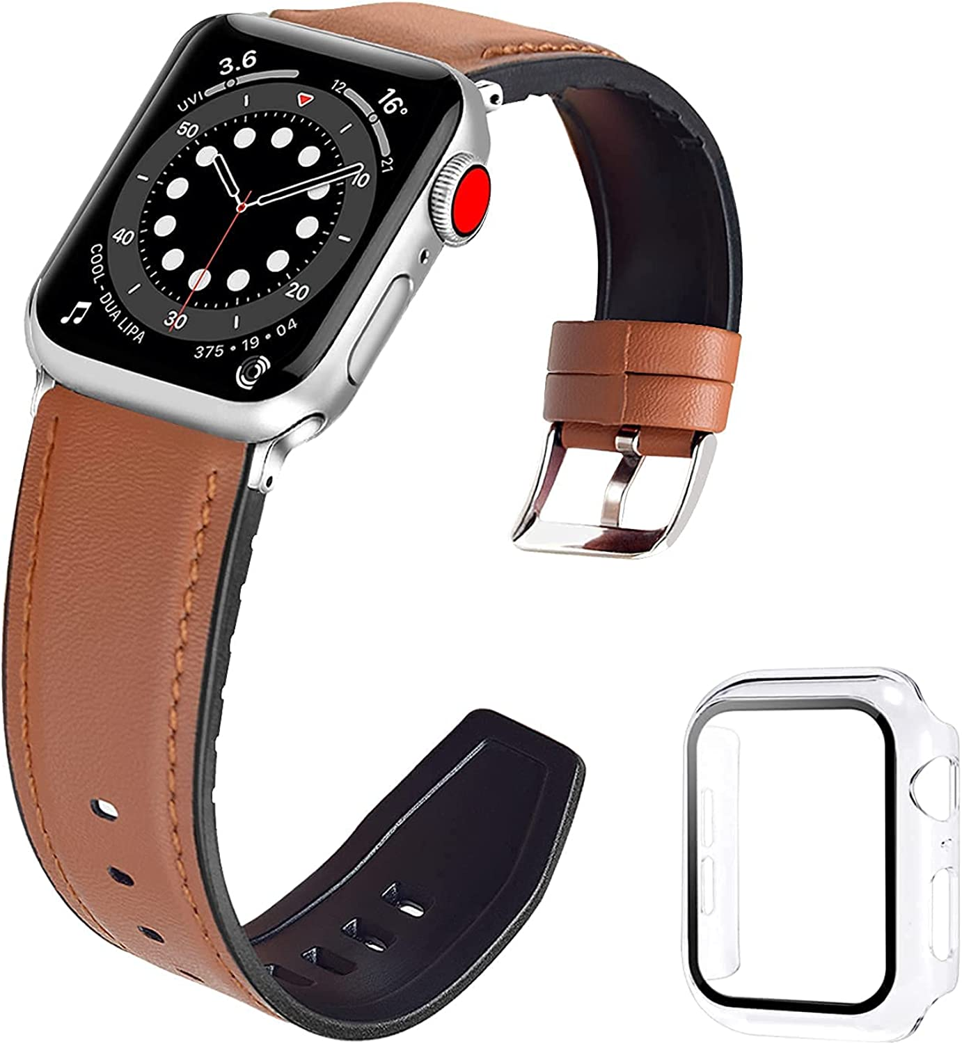 iDLEHANDS Leather Band Compatible with Apple Watch Band 38mm 40mm 42mm 44mm, Soft Leather with Silicone Replacement Wristband Strap for Men Women iWatch Series 6 5 4 3 2 1 SE