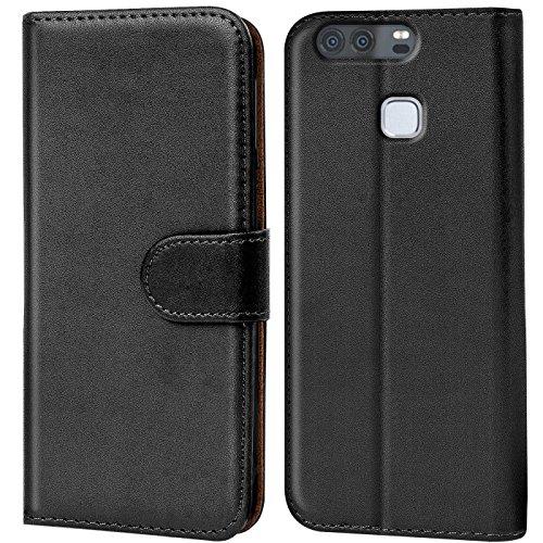 Verco P9 Hülle, Handyhülle für Huawei P9 Tasche PU Leder Flip Hülle Brieftasche - Schwarz
