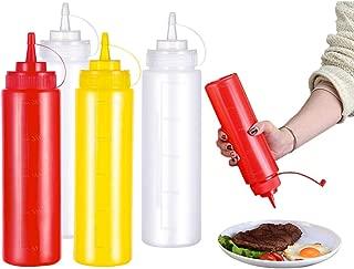 12Oz Olio doliva 8 Pezzi Maionese Trasparente Senape Keleily Flacone Dosatore con Tappi Dispenser di Condimenti in Plastica per Condimenti 340ml Ketchup