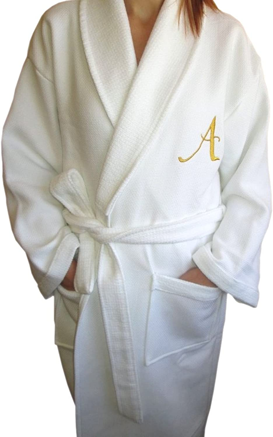 BgEurope Hotel Edition White Waffle Terry Lady Bathrobe with Personalized gold Letter (XL)