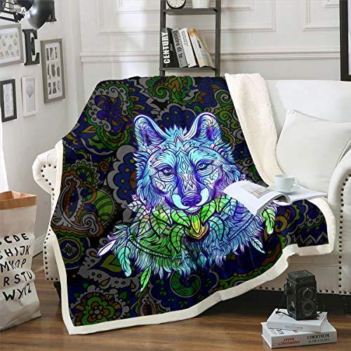 Wolf - Manta de felpa para niños y niñas, 3D, diseño de animales, color azul turquesa, manta de sherpa, decoración de plumas bohemia, manta difusa para sofá cama, 126 x 152 cm