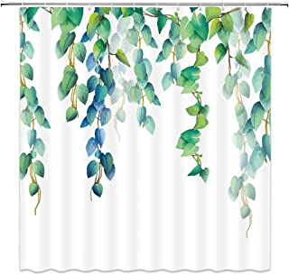 WZFashion Green Leaves Shower Curtain Spring Radish Fresh Leaf Watercolor Plant Blue Floral Decor Designer Polyester Fabric Home Bath Accessories Hanging Bathroom Curtains Set 70 x 70 Inch with Hook