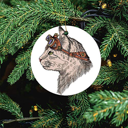 ALUONI Cat Portrait Steam with Yellow Eyes and Christmas Ornaments 2020 Christmas Ceramic Pendant Personalized Creative Christmas Decorations Double Sided Christmas Tree Ornament SW01408 3PCS