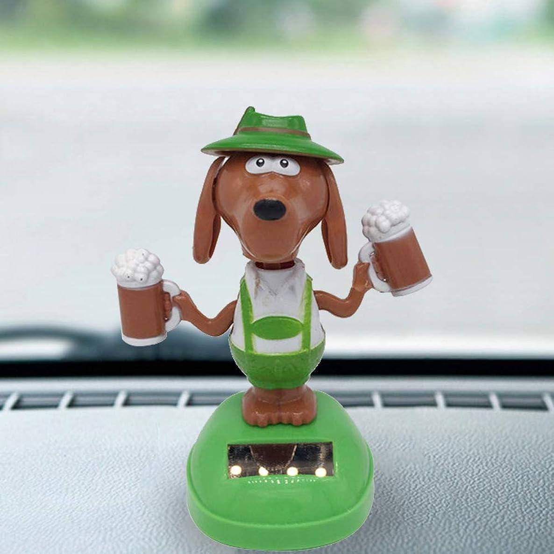 opOpb213IL Solar Powered Car Ornament,Cute Dog Popcorn Solar Power Swinging Doll Car Interior Ornament Kids Toy Gift