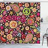 ABAKUHAUS toll Duschvorhang, Hippie Paisley Blätter, mit 12 Ringe Set Wasserdicht Stielvoll Modern Farbfest & Schimmel Resistent, 175x240 cm, Mehrfarbig