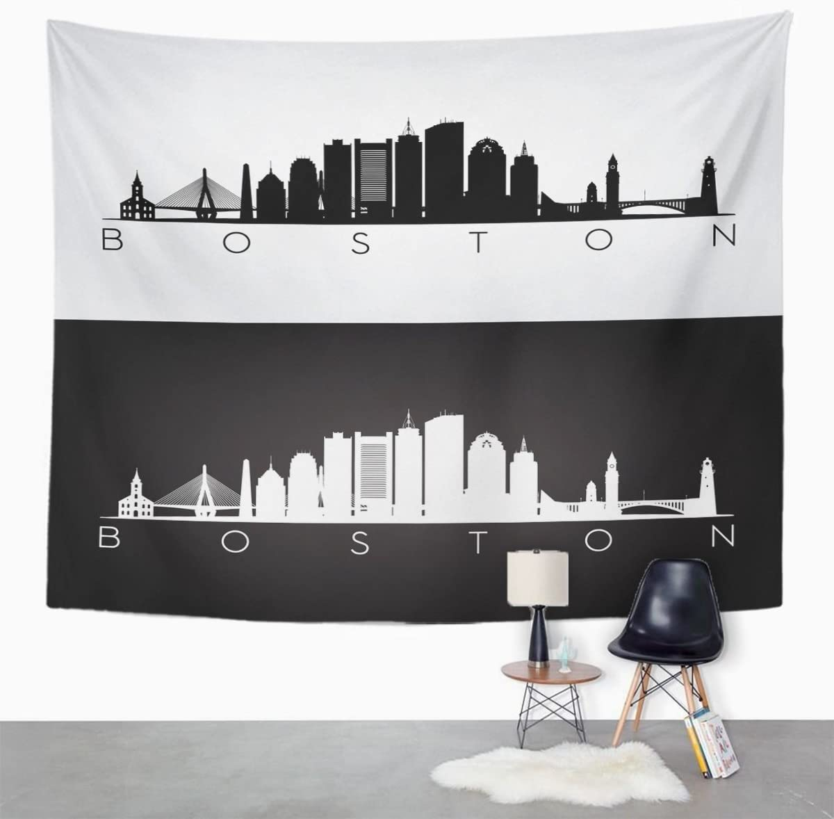 Amazon Com Emvency Tapestry City Boston Skyline And Landmarks Silhouette Black White Home Decor Wall Hanging For Living Room Bedroom Dorm 50x60 Inches Home Kitchen