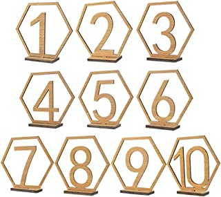 DENTRUN 1 to 40 Wedding Wooden Hexagon Number Tables with Holder Base,40 Pack Thick Heavy Duty Vintage Home Birthday Party Event Banquet Decorations Wedding Supplies