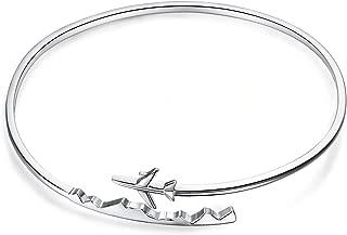 925 Sterling Silver World Travel Souvenir Airplane Earrings Open Bangle Bracelet Adjustable Ring