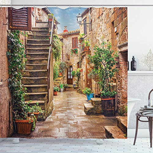 Ambesonne Italian Shower Curtain, View of Old Mediterranean Street with Stone Rock Houses in Italian City Rural Print, Cloth Fabric Bathroom Decor Set with Hooks, 70' Long, Stone Green