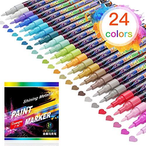 Honmax Metallic Marker Stifte, 24 Farben Permanent Wasserfest Metallischen Stift Pens Set für DIY, Becher, Album, Keramikglas, Stein, Holz, Leinwand- Feine Spitze.