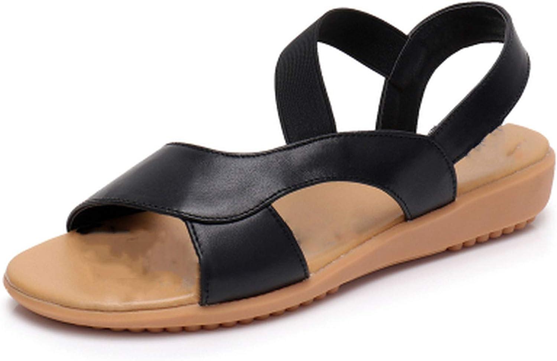 TZJY-Store Leather Genuine Women's Flat Heel Sandals Fashion Women's Summer shoes Sandals,Black,3,5