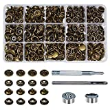 """INNETOC 70 Sets Metal Line 24 15mm 5/8"""" Metal Snap Fastener Leather Rapid Rivet Button Sewing with Punch Set Tool (15mm, Bronze)"""