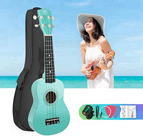 2021 21 inch Soprano Basswood Ukulele beginner Kit online sale for online sale Beginner with Gig Bag and Tuners,Hawaii Mini Guitar for starters and kids (Mint) sale