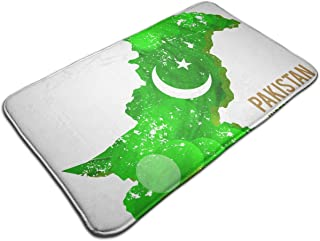 Pakistan Map for Independence Day Memory Foam Bath Mat - Non Slip Absorbent Rug Carpet for Indoor/Outdoor/Frontdoor/Bedroom/Livingroom/Kitchen