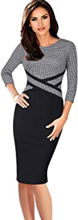 VFSHOW Elegant Womens Colorblock Work Business Office Church Sheath Dress