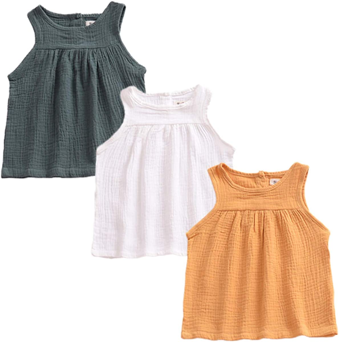 YAKETERA 3 Pack of Baby Toddle Infant Girls Cotton Linen Blend Tank Tops T Shirts Blouse
