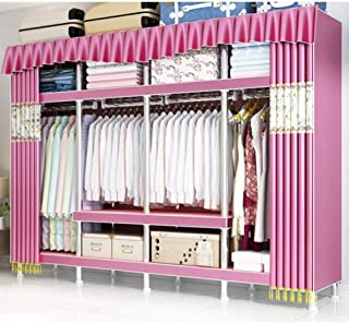 HWG Armoire De Rangement Armoire en Tissu Armoire Portable avec 4 Tringles à Vêtements, 9 étagères pour Chambre, Salon,Pink