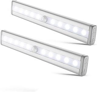 B.K.Licht luz nocturna más versátil, 10 leds con 80lm, detector de movimiento, 19x3cm, Pack de 2, con banda magnética, Funciona con 4 pilas AAA (no incl.)