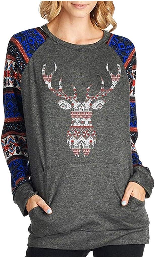 LOPILY Weihnachtspullover Damen Langarmshirts mit Norwegermuster Norwegerpullover mit Reindeer Druck Vintage Weihnachtspullis Damen mit Rundhals Ausschnitt Weihnachtshemd Pulli Damen