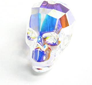Dreambell 1 pc Swarovski Elements 5750 Skull Head Crystal Bead Clear AB 13mm/Findings/Crystallized Element