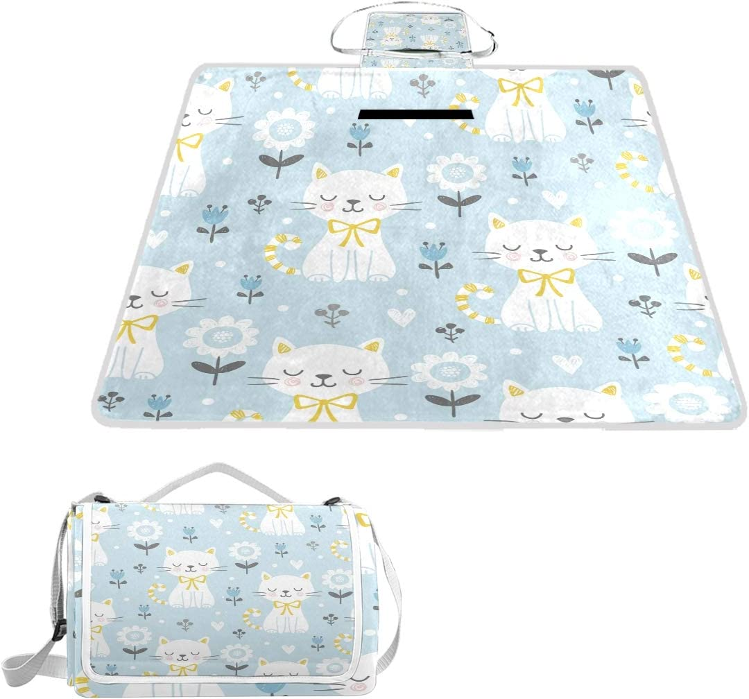 MAPOLO White Cats Opening Quantity limited large release sale Flowers Picnic Outdoor Blanket Waterproof Blan