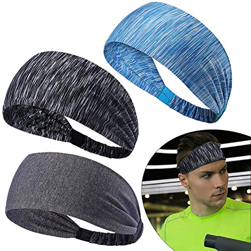 SANTOO 3 Farbe Sport Stirnband rutschfest Elastisches Schweißband Headbands Haarband Feuchtigkeitstransport Kopfband Head Wrap Yoga Fitness Basketball Running Radfahren Fußball Tennis
