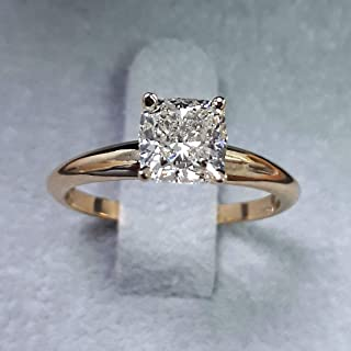 1.03ct Natural Cushion Cut VVS2 Diamond Solitaire Bridal Engagement Ring 18K in Yellow Gold