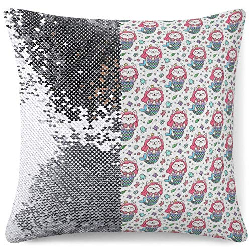Sequin Pillow Cover Decorative Mermaid Throw Cushion Cases Cat Mermaid Silver Sequins Pillowcase Gag Gift (16 in x 16 in) 40 cm x 40 cm