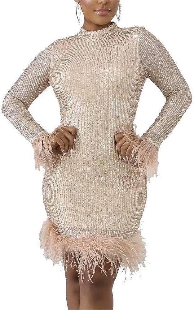 LKOUS Women Sparkly 春の新作続々 Sequin Dresses Bodycon Feathers Sleeve 期間限定の激安セール Long