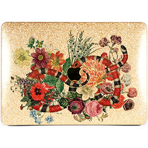 Cavka Hard Glitter Case for Apple MacBook Pro 13' 2019 Retina 15' Mac Air 11' Mac 12' Bling Beautiful Silver Reptile Print Flowers Snake Cover Glossy Design Floral Bunch Cute Rose Gold Shiny Sparkly