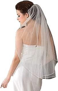 JINGDRESS Wedding Veils Short Bridal Veils with Comb 1T Rhinestone Elbow Length 30