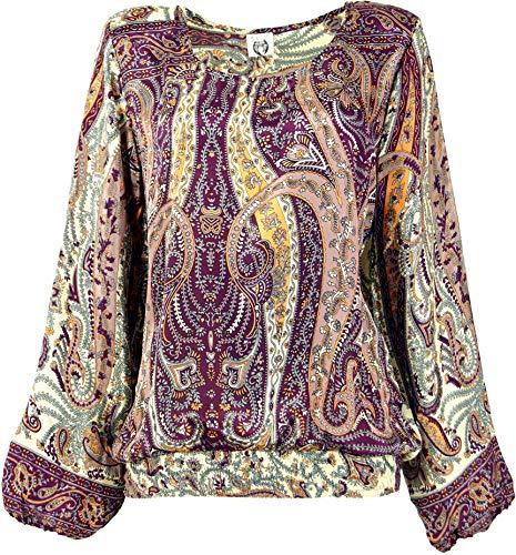 Guru-Shop Leichte Boho Bluse, Sommerbluse, Damen Bluse, Bluse mit Pluderärmeln, Flieder, Synthetisch, Size:M (38), Blusen & Tunikas Alternative Bekleidung