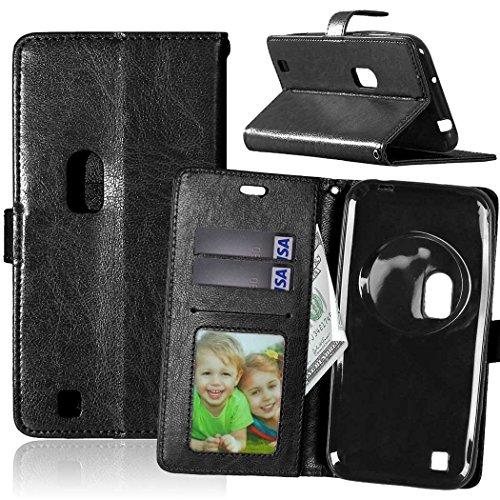Capa para Asus ZenFone Zoom ZX550ML ZX551ML 5.5inch proteção de couro PU com 3 compartimentos para cartões capa flip (Preto)