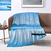 Luoiaax Summer Rugged or Durable Camping Blanket Wooden Pier Jetty Lake Sky Reflection on Water Serene Tranquil Summer View Print Warm and Washable W60 x L70 Inch Pale Blue