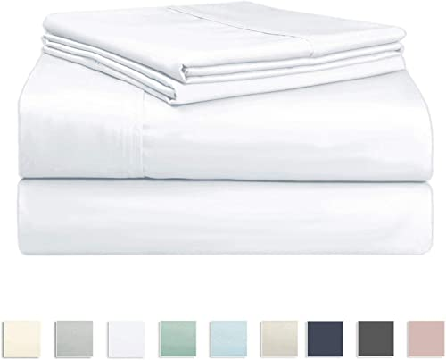 Soft 500 Thread Count Queen Sheets Set, 100% Long Staple Cotton Hotel Quality Sheets Queen White, Cotton Satin Bed Sh...