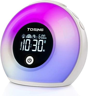 TOSING Licht aufwachen Schlaflampe Wecker Bluetooth-Lautsprecher für Kinder/Adult Heavy Sleeper,wecke den Lichtwecker auf/Naturgeräusche Led Lichter/Schläfchen/5 Lampe für die Helligkeitshilfe(Weiß)