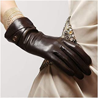 SHENTIANWEI Gloves Leather Women's Thin Section Lined with Long Gloves (Color : Brown, Size : M)