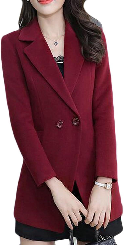 Cromoncent Womens Solid Lapel Two Buttons Blazer Coat Outerwear Pea Coat