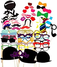 Party Props for Photo Booth Birthday Wedding Kids Adult Prom 58 Pcs, DIY Funny Skywoo Costumes with Mustache on a stick, Hats, Glasses, Mouth, Bowler, Bowties