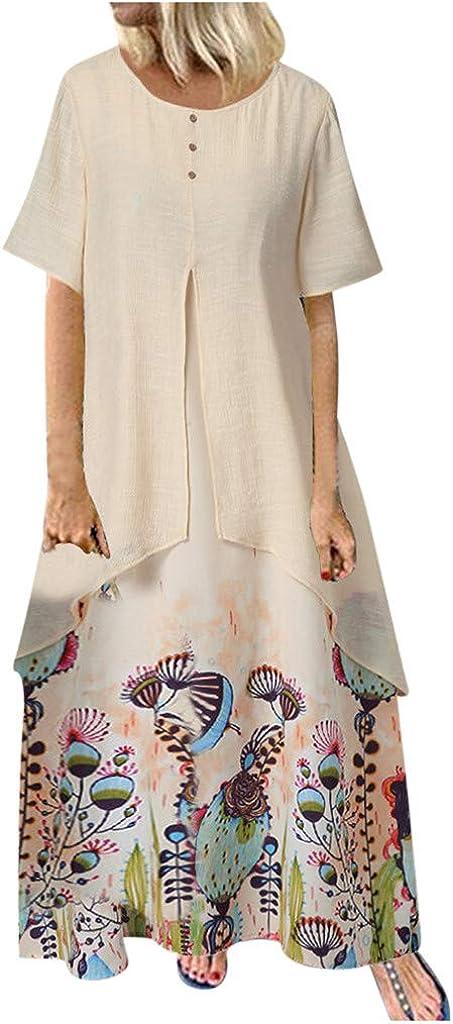 Amober Women Dress Off Shoulder Casual Casual Print Dress Sleeveless Loose Party Long Dress