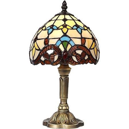 Lampe de table de style Tiffany, abat-jour de nuit en verre teinté fabriqué à la main, salon, barre de décoration de table méditerranéenne avec prise Artpad