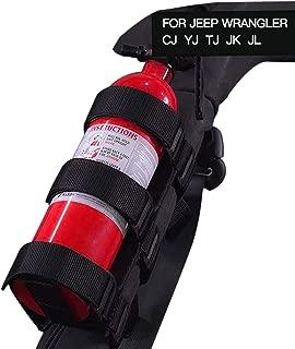 JeCar Fire Extinguisher Holder Adjustable Extinguisher Mount Strap for 1987-2019 Jeep Wrangler JK JL TJ CJ YJ (Black)