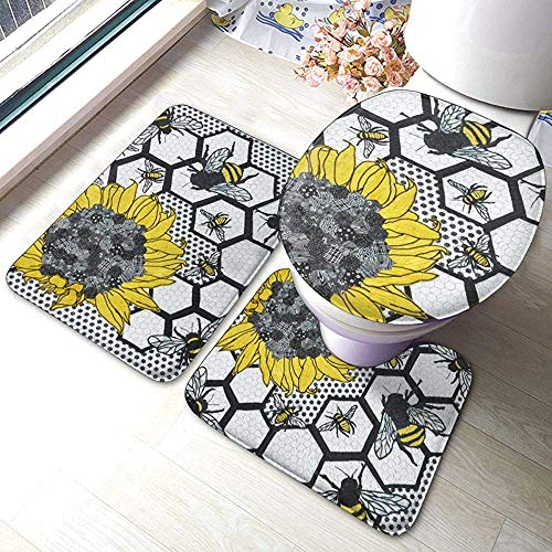 Zonnebloem Bijenkorf 3-delige badkamertapijtset, antislip-badmat + contour + toiletdeksel