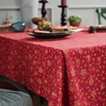 1 Pcs Christmas Rectangular New Year Red Green Tablecloth Cotton Linen Dining Table Cover Home Decor For Kitchen Courtyard...