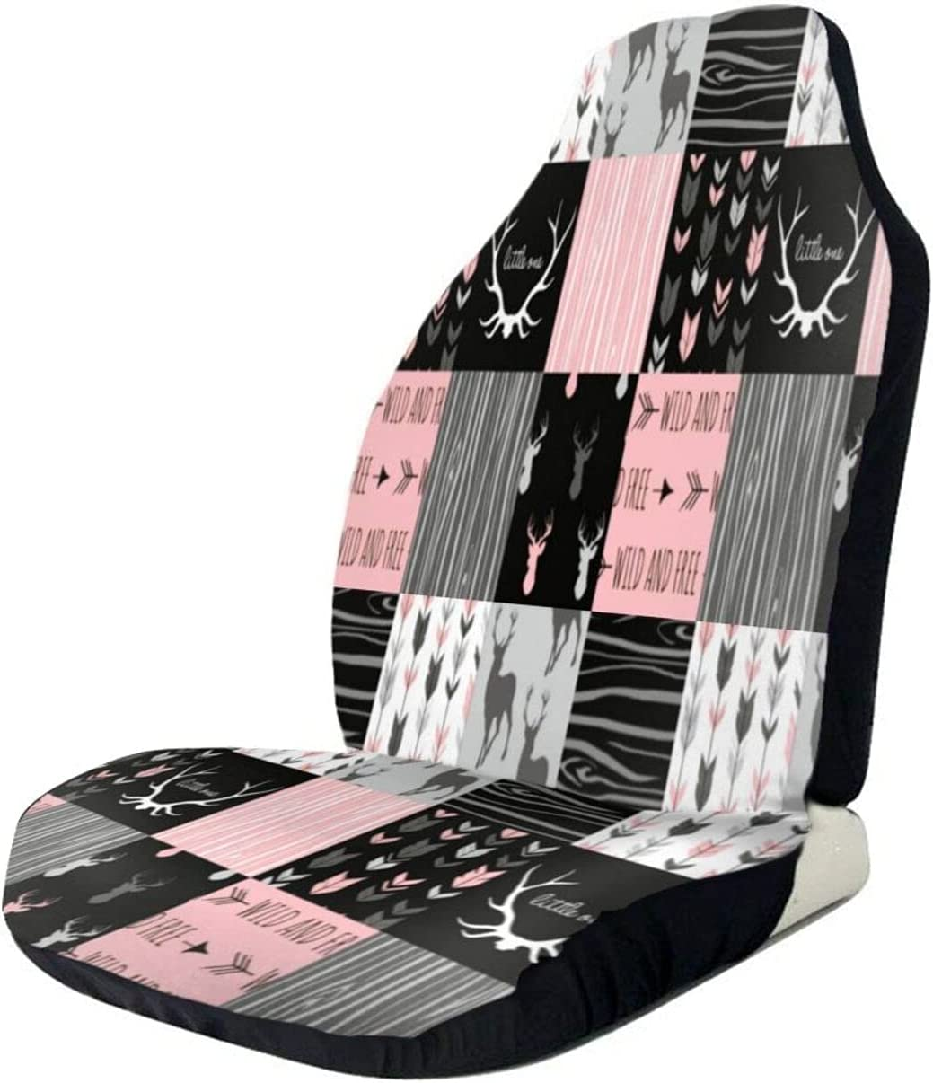 Rustic Bear Deer Patchwork Pink New Free Shipping 1 San Antonio Mall Cover Au Seat Soft Nonslip Car