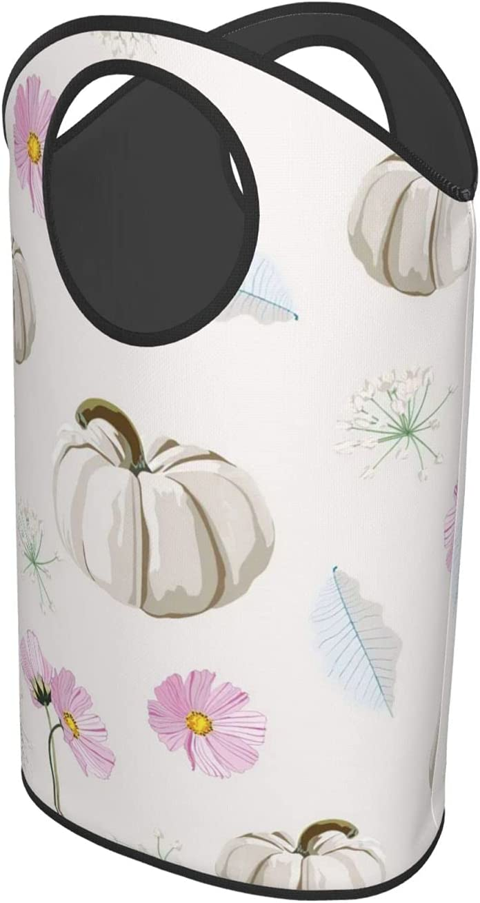 Thanksgiving White PumpkinLaundry Hamper Upright In stock National uniform free shipping Or Foldable Cl
