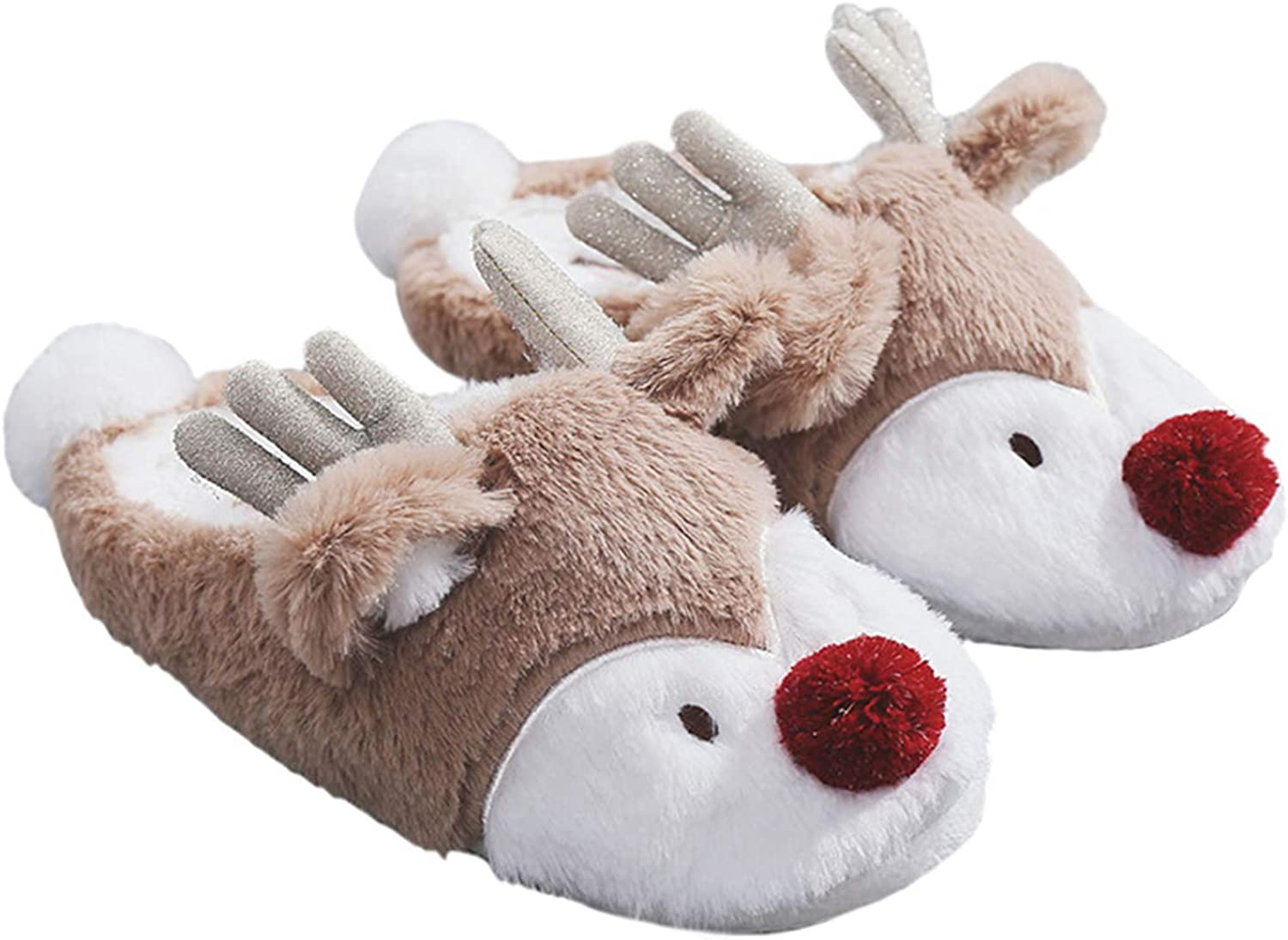 Women's Comfortable Cotton Slipper Winter Warm Anti-Slip Indoor Home shoes Christmas Deer Soft Slippers