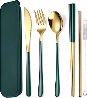 AARAINBOW 6 Pieces Stainless Steel Flatware Set Portable Reusable Cutlery Set Travel Utensils Set Including Chopsticks Kni...